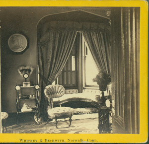 Stereograph of the Gate Lodge, LeGrand Lockwood House, front parlor, Norwalk, Conn., 1868-1870