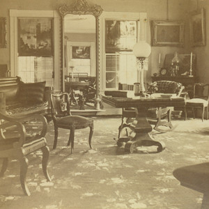 Stereoscope of the Denny House, drawing room, Barre, Mass., undated