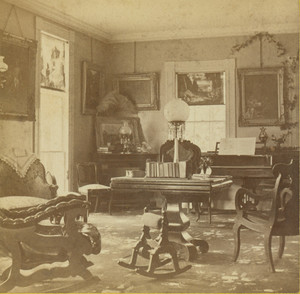 Stereograph of the Denny House, drawing room, Barre, Mass., undated