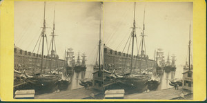 Stereograph of Central Wharf, Boston, Mass., undated