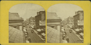 Washington St. from West St., showing sign for Simon Wing, ambrotypist, Boston, Mass., undated