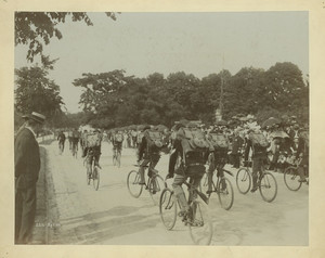 Parade of men on bicycles on the Fenway, Boston, Mass., undated