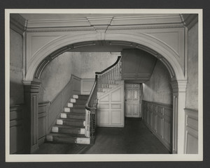 Interior view of the Jarathmael Bowers House, hall stairs, Somerset, Mass., undated