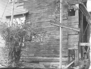 Exterior view of the House of the Seven Gables, restoration work, Salem, Mass., undated