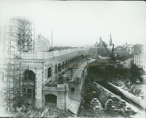 Exterior view of the new Union Station, under construction, Worcester, Mass., Oct. 11,1910