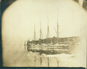 View of the schooner Augustus Hunt docked at Boston Gas Light Company, North End Works, Boston, Mass., undated