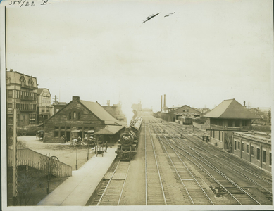 Exterior view of railway stations, Brighton, Mass., undated