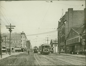 Exterior view of Washington and Market Streets, Brighton, Mass., undated