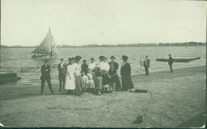 Full-length group portrait of people, standing, facing front, Tenean Beach, Dorchester, Mass., undated