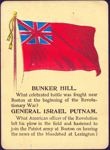 Front of a playing card about the American Revolutionary War. Bunker Hill - Gen. Israel Putnam