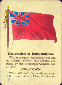 Front of a playing card about the American Revolutionary War. Declaration of Independence - Yorktown