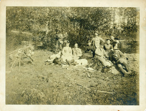 Group portrait of the Bowen family shooting party, facing front, location unknown