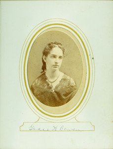 Head-and-shoulders studio portrait of Grace A. Bowen, facing slightly right, location unknown