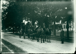 Stagecoach with passengers, Shrewsbury, Mass., undated