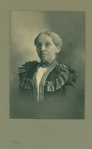 Head-and-shoulders studio portrait of Caroline Hood, facing front, location unknown, undated