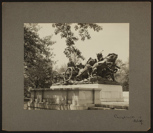 Front view of a Civil War memorial with soldiers in a wagon and on horseback, Washington, D.C., undated