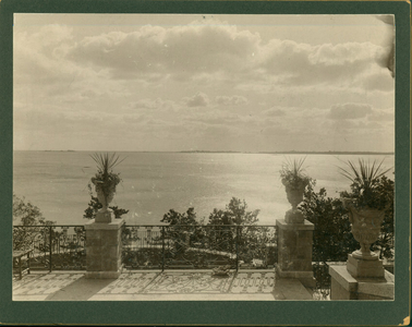 View of the water from Sunset Rock, the Spaulding brothers estate, Prides Crossing, Beverly, Mass., undated
