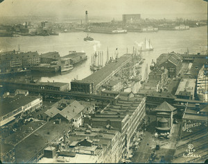 Aerial view of T-Wharf, Boston, Mass., 1914