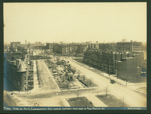 Work on Section I, Commonwealth Ave., looking easterly from roof of 600 Beacon St., 20 April 1912
