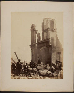 Men in front of the ruin of the H. & J. Pfaff Brewery, Boston fire, 1872