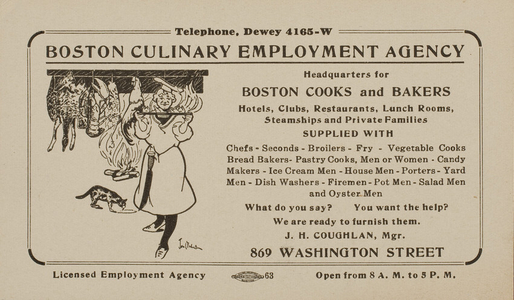 Trade card for the Boston Culinary Employment Agency, Boston, Mass., depicts a chef holding a food tray, undated