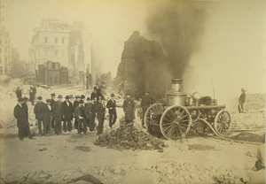 Firefighters, bystanders, and firefighting equipment on ruins of Devonshire St., Boston, Mass., after the Great Boston Fire, 1872