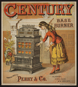 Trade card for the Century Base Burner, manufactured by Perry & Company, Albany, Chicago, New York City, undated