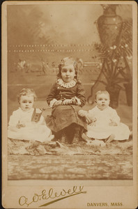 Cabinet card portrait of three unidentified Fowler family children