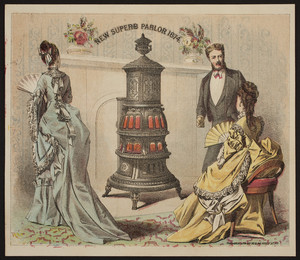 Trade card for The New Superb Parlor Stove, manufactured by Hicks & Wolfe, Troy, New York, 1874