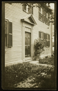 Exterior view of an unidentified house, front door, Portsmouth, N.H., undated