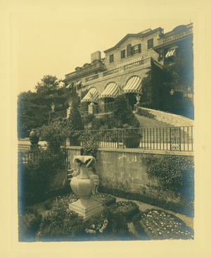 View of the terrace at Sunset Rock, estate of the Spaulding brothers, Prides Crossing, Beverly, Mass., 1869