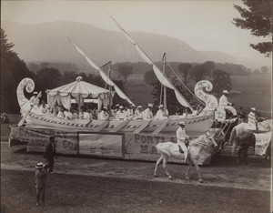 Casco Bay Steamboat Co. float (Cleopatra's Barge), East Side Coaching Parade, North Conway, NH, 1894