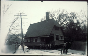 Moving a house with horse and capson, location unknown, undated