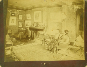 Portrait of George and Mary Holt, seated in a parlor, Spuyten Duyvil, New York