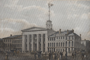 View of the Merchants Exchange, State Street, and the proposed Post-Office on Congress Street, Boston, Mass.