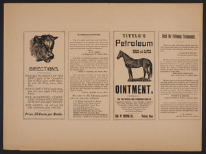 Broadside for Tittle's Petroleum Horse and Cattle Ointment, Geo. W. Pepper Co., Peabody, Mass., undated