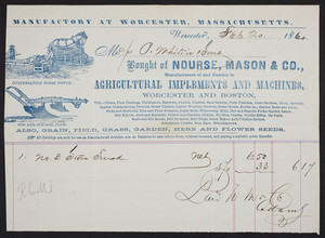 Billhead for Nourse, Mason & Co., agricultural implements and machines, Worcester and Boston, Mass., dated February 20, 1860