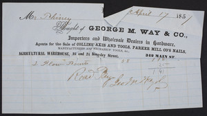 Billhead for George M. Way & Co., hardware, 342 Main Street, location unknown, dated April 17, 1851