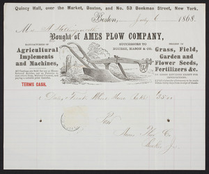 Billhead for Ames Plow Company, agricultural implements and machines, Quincy Hall over the Market, Boston, Mass. and no. 53 Beekman Street, New York, dated July 6, 1868