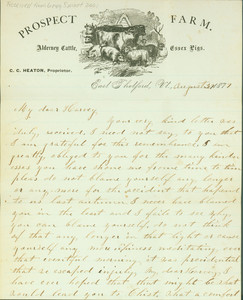 Letter from Prospect Farm, C.C. Heaton, proprietor, East Thetford, Vermont, dated August 27, 1877
