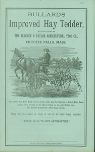 Trade card for Bullard's Improved Hay Tedder, Belcher & Taylor Agricultural Tool Co., Chicopee Falls, Mass., undated