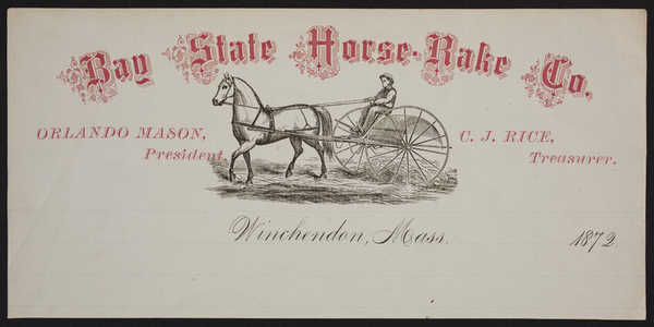 Trade card for Bay State Horse Rake Co., Winchendon, Mass., 1872