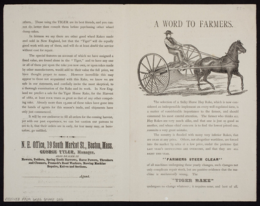 Word to farmers, George Tyler, N.E. Office, 19 South Market St. Boston, Mass., ca. 1882