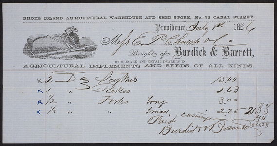 Billhead for Burdick & Barrett, agricultural implements and seeds of all kinds, 32 Canal Street, Providence, Rhode Island, dated July 1, 1856