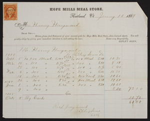 Billhead for Hope Mills Meal Store, Rutland, Vermont, dated January 16, 1869
