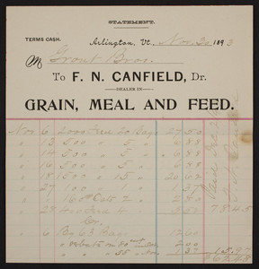 Billhead for F.N. Canfield, Dr., grain, meal and feed, Arlington, Vermont, dated November 30, 1893