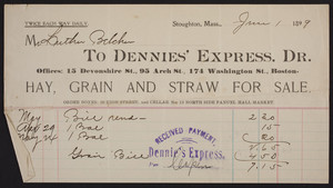 Billhead for Dennies' Express. Dr., hay, grain, and straw for sale, 15 Devonshire St., 95 Arch St., 174 Washington St., Boston, Mass., dated June 1, 1899