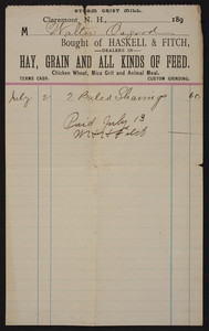 Billhead for Haskell & Fitch, hay, dealers in grain and all kinds of feed, Claremont, New Hampshire, undated