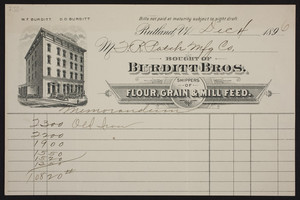Billhead for Burditt Bros., shippers of flour, grain & mill feed, Rutland, Vermont, dated December 4, 1896