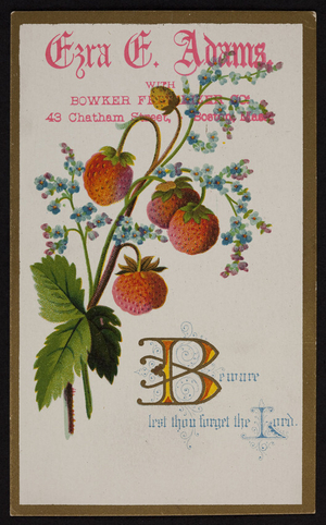 Business card for Ezra E. Adams, with Bowker Fertilizer, 43 Chatham Street, Boston, Mass., undated